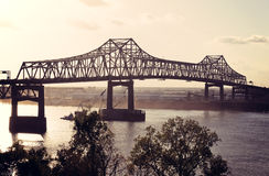 Ponticello sul fiume Mississippi a Baton Rouge Immagine Stock