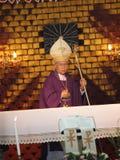 Pontiff Phillip Banchong Chaiyara on holy platform. UBON RATCHATHANI, THAILAND – MAR 19, 2012 : Pontiff Phillip Banchong Chaiyara on holy platform in Catholic Stock Photography