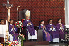 Pontiff Phillip Banchong Chaiyara and priests Stock Images