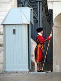 Pontifical Swiss Guard. Swiss Guards stands guard at the Vatican Royalty Free Stock Photo