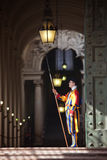 Pontifical Swiss Guard in his traditional uniform Stock Image