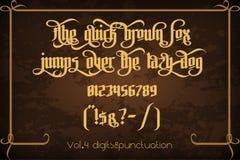 Pontifice - uitstekende gotische etiketdoopvont Stock Foto