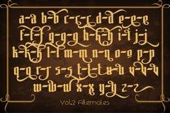 Pontifice - uitstekende gotische etiketdoopvont Stock Afbeelding