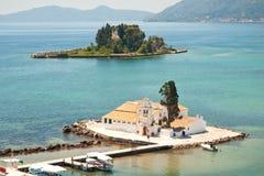 Pontikonisi Bereich in Korfu Stockbilder
