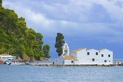 Pontikonisi island and Church of Pantokrator, Corfu Royalty Free Stock Photo