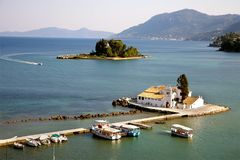 Vlacherna monastery and & x22;Mouse Island& x22; Corfu, Greece stock photography