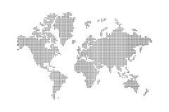 Pontilha o mapa de mundo Fotos de Stock Royalty Free