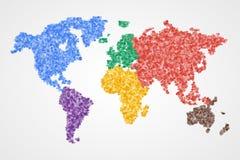 Pontilhado em volta do mapa do mundo Vetor abstrato Fotografia de Stock