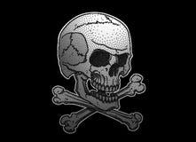 Pontilhar o crânio e os ossos cruzados Fotografia de Stock Royalty Free