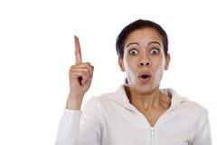 Ponting da mulher surpreendido até o cópia-espaço em branco Fotos de Stock Royalty Free