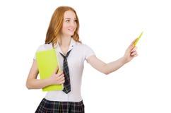 Ponting femminile del giovane studente isolato su bianco Immagine Stock Libera da Diritti