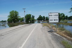 Ponto alto fechado estrada - inundação Imagens de Stock