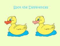Ponto amarelo do pato as diferenças Imagens de Stock