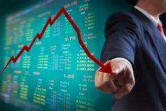 Ponto ao gráfico de queda do mercado de valores de acção Imagem de Stock