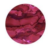 Ponto brilhante da aquarela Círculo cor-de-rosa escuro pintado Textura abstrata isolada no branco Decoração imprimível ilustração royalty free
