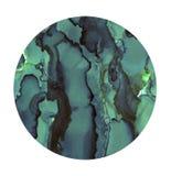 Ponto brilhante da aquarela Círculo pintado de turquesa Textura abstrata isolada no branco Decoração imprimível ilustração stock