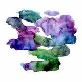 Ponto brilhante da aquarela verde e violeta Isolado no fundo branco ilustração stock