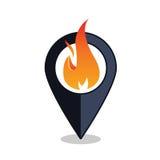 Ponto da chama - ponteiro do mapa com sinal da chaminé - alarme de incêndio Imagens de Stock