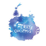 Ponto da cor de água com umas felicitações do Natal Imagens de Stock