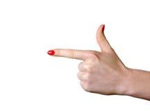 Ponto da mão de Femail deixado Fotografia de Stock Royalty Free