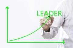 Ponto da mão de Text With Businessman do líder no verde virtual l do gráfico foto de stock royalty free