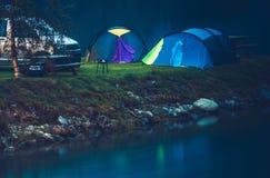 Ponto de acampamento da margem Foto de Stock