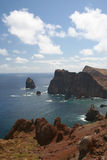 Ponto de Castelo. Heading towards the eastern end of Madeira, there is a miradouro (lookout) point which shows the wild and rugged coastline royalty free stock photo