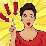 Ponto de exclama??o do pop art e mulher surpreendida ilustração royalty free