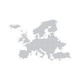 Ponto de Grey Map Europe In The Ilustração do vetor Fotos de Stock Royalty Free