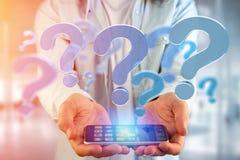 Ponto de interrogação azul indicado em uma relação futurista - 3d arrancam Fotos de Stock
