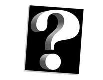 Ponto de interrogação branco no preto Imagens de Stock Royalty Free