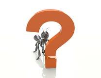 Ponto de interrogação com formiga dos desenhos animados Fotografia de Stock Royalty Free