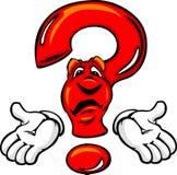 Ponto de interrogação confuso dos desenhos animados com mãos Foto de Stock Royalty Free