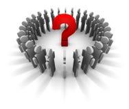 Ponto de interrogação e homens de negócios Fotografia de Stock Royalty Free