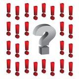 Ponto de interrogação em torno do illustratio das marcas de exclamação Foto de Stock Royalty Free