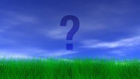 Ponto de interrogação, grama verde & céu azul ilustração stock
