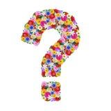 Ponto de interrogação, letra do alfabeto em flores diferentes Imagens de Stock