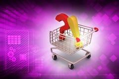 Ponto de interrogação por meio de identificar de exclamação por meio de carrinho de compras Fotos de Stock Royalty Free