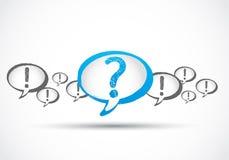 Ponto de interrogação por meio de marcas de exclamação Imagem de Stock