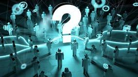 Ponto de interrogação que ilumina uma rendição do grupo de pessoas 3D Fotografia de Stock