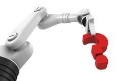 Ponto de interrogação robótico da terra arrendada de braço Fotos de Stock Royalty Free