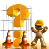 Ponto de interrogação sob o ícone 3d engraçado da construção ilustração royalty free