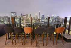 Ponto de opinião da cidade de Banguecoque da barra do telhado Foto de Stock Royalty Free