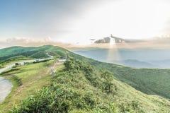 Ponto de opinião do por do sol em Nern Chang Suek Viewpoint, Pilok, Kanchanab Fotografia de Stock