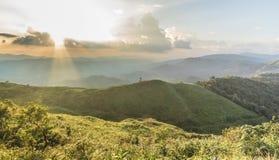 Ponto de opinião do por do sol em Nern Chang Suek Viewpoint, Pilok, Kanchanab Imagens de Stock