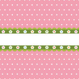 Ponto de polca cor-de-rosa com bandeira ilustração royalty free