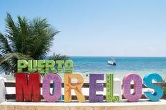 Ponto de Puerto Morelos no Maya de Riviera, Iucatão foto de stock royalty free
