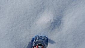 Ponto de vista do caminhante Os pés do close up com os sapatos de neve que andam na neve surgem Snowshoeing na neve fresca vídeos de arquivo