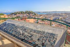 Ponto de vista do panorama de Lisboa Fotos de Stock Royalty Free