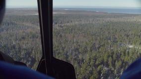 Ponto de vista do piloto de um voo do helicóptero sobre a floresta de Sibéria vídeos de arquivo